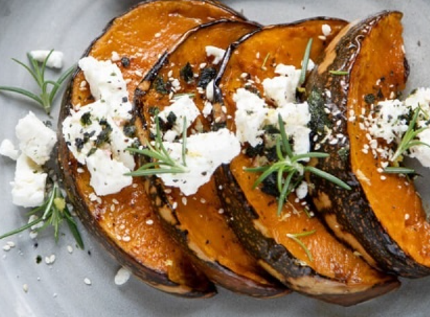 Dish with baked pumkin and feta cheese on top | Featured image for introducing Olympus Cheese blog.
