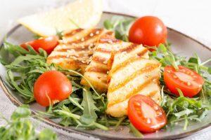 Haloumi on top of a salad | | Featured image for introducing Fresco Haloumi blog.